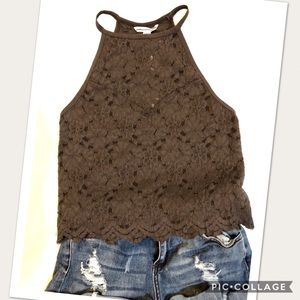 American Eagle lace cut out back tank